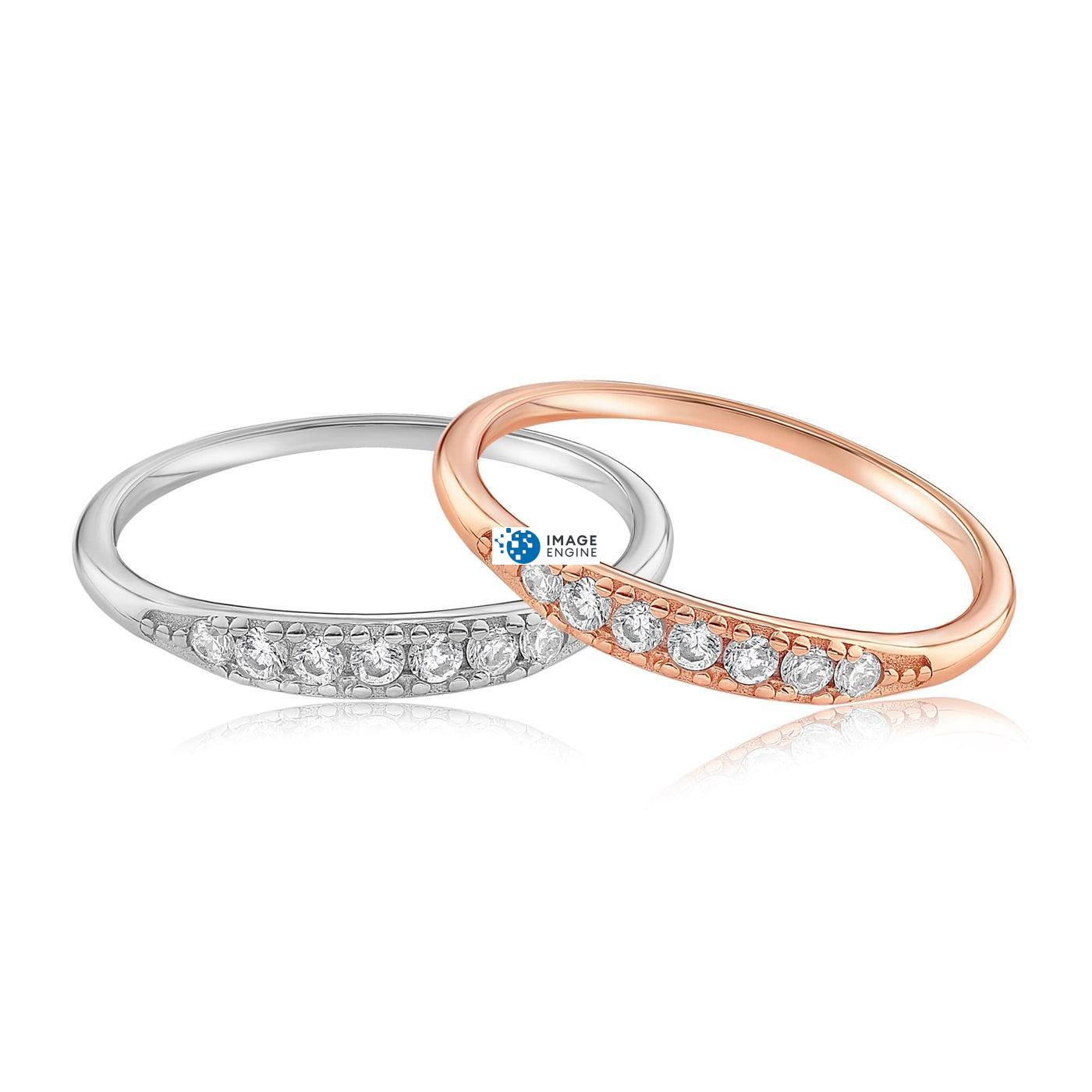 Kathleen Stack Ring - Front View Side by Side - 18K Rose Gold Vermeil and 925 Sterling Silver