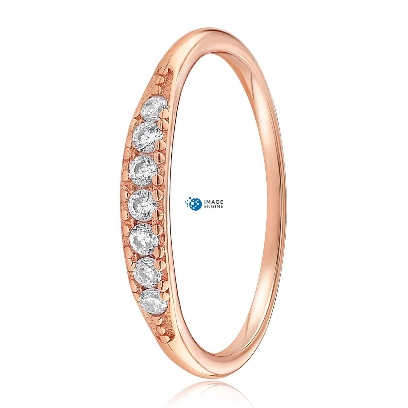 Kathleen Stack Ring - Side View - 18K Rose Gold Vermeil