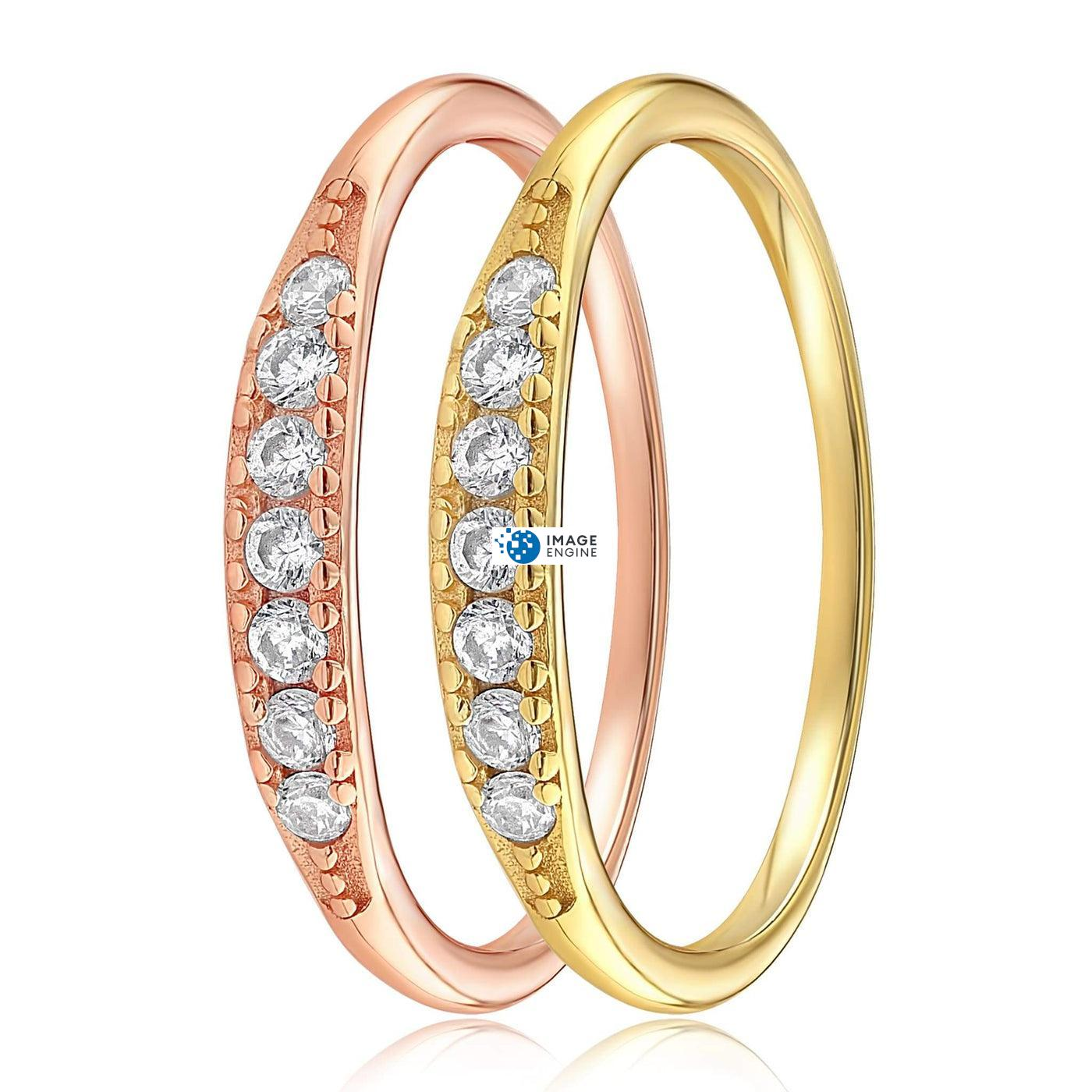 Kathleen Stack Ring - Side by Side - 18K Yellow Gold Vermeil and 18K Rose Gold Vermeil