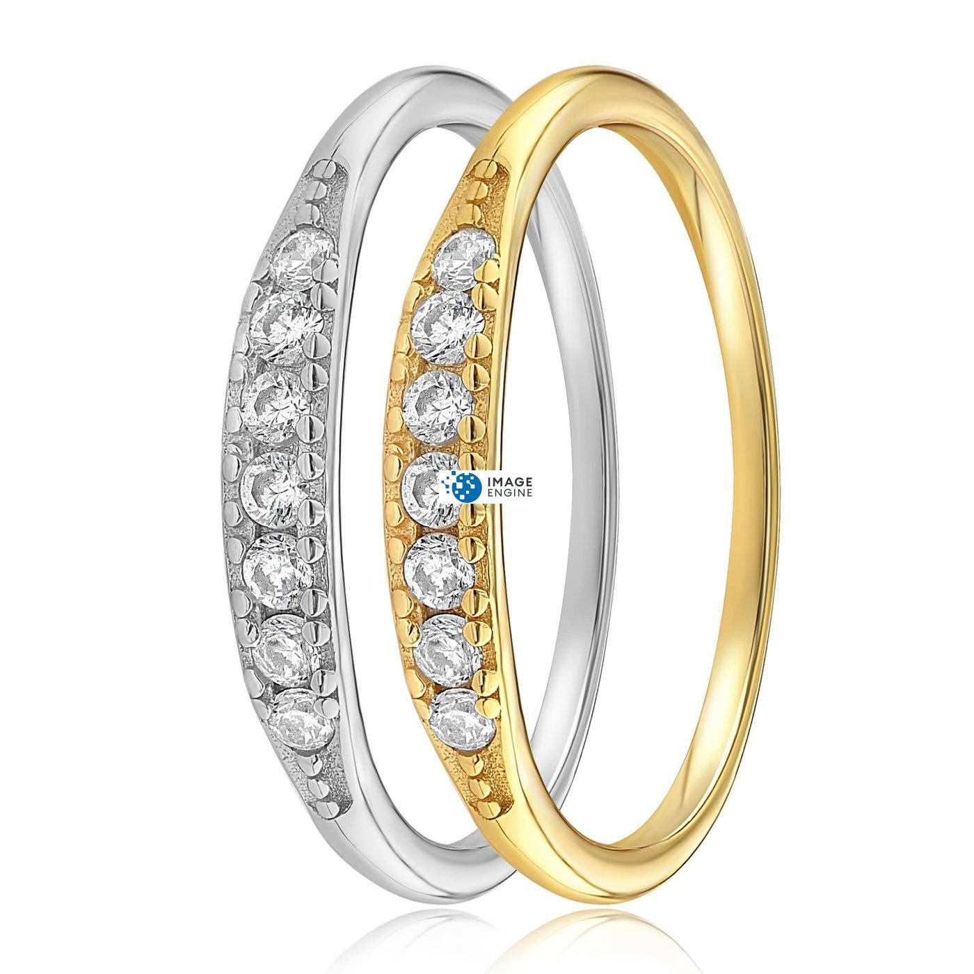 Kathleen Stack Ring - Side by Side - 18K Yellow Gold and 925 Sterling Silver