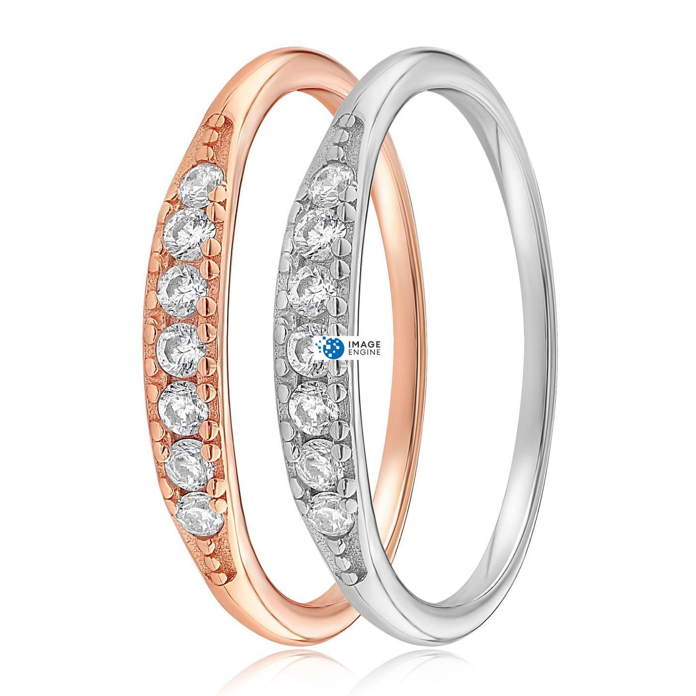 Kathleen Stack Ring - Side by Side - 925 Sterling Silver and 18K Rose Gold Vermeil