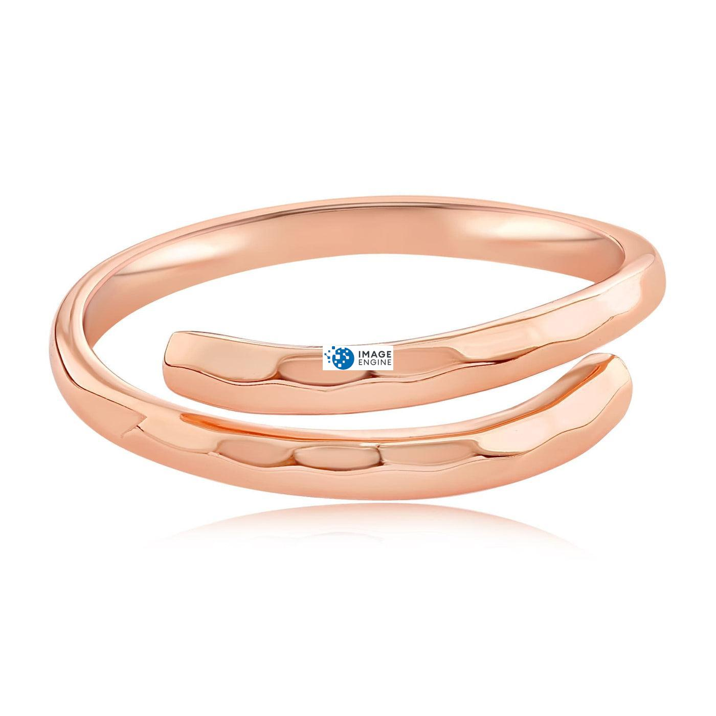 Minimalist Thumb Ring - Front View Facing Down - 18K Rose Gold Vermeil.