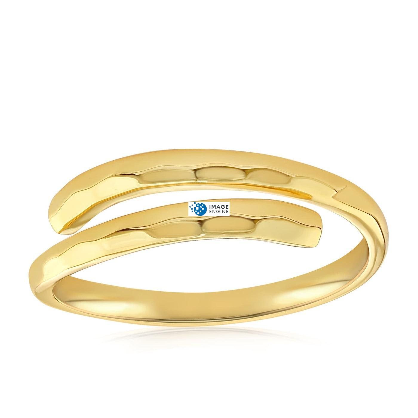 Minimalist Thumb Ring - Front View Facing Down - 18K Yellow Gold Vermeil