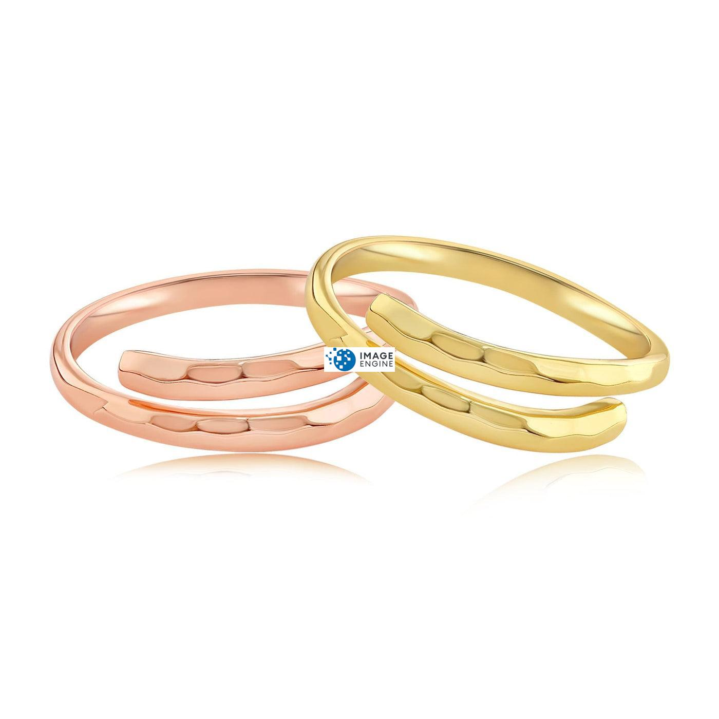 Minimalist Thumb Ring - Front View Side by Side - 18K Rose Gold Vermeil and 18K Yellow Gold Vermeil