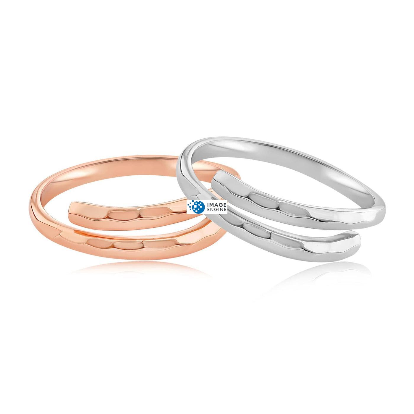 Minimalist Thumb Ring - Front View Side by Side - 18K Rose Gold Vermeil and 925 Sterling Silver