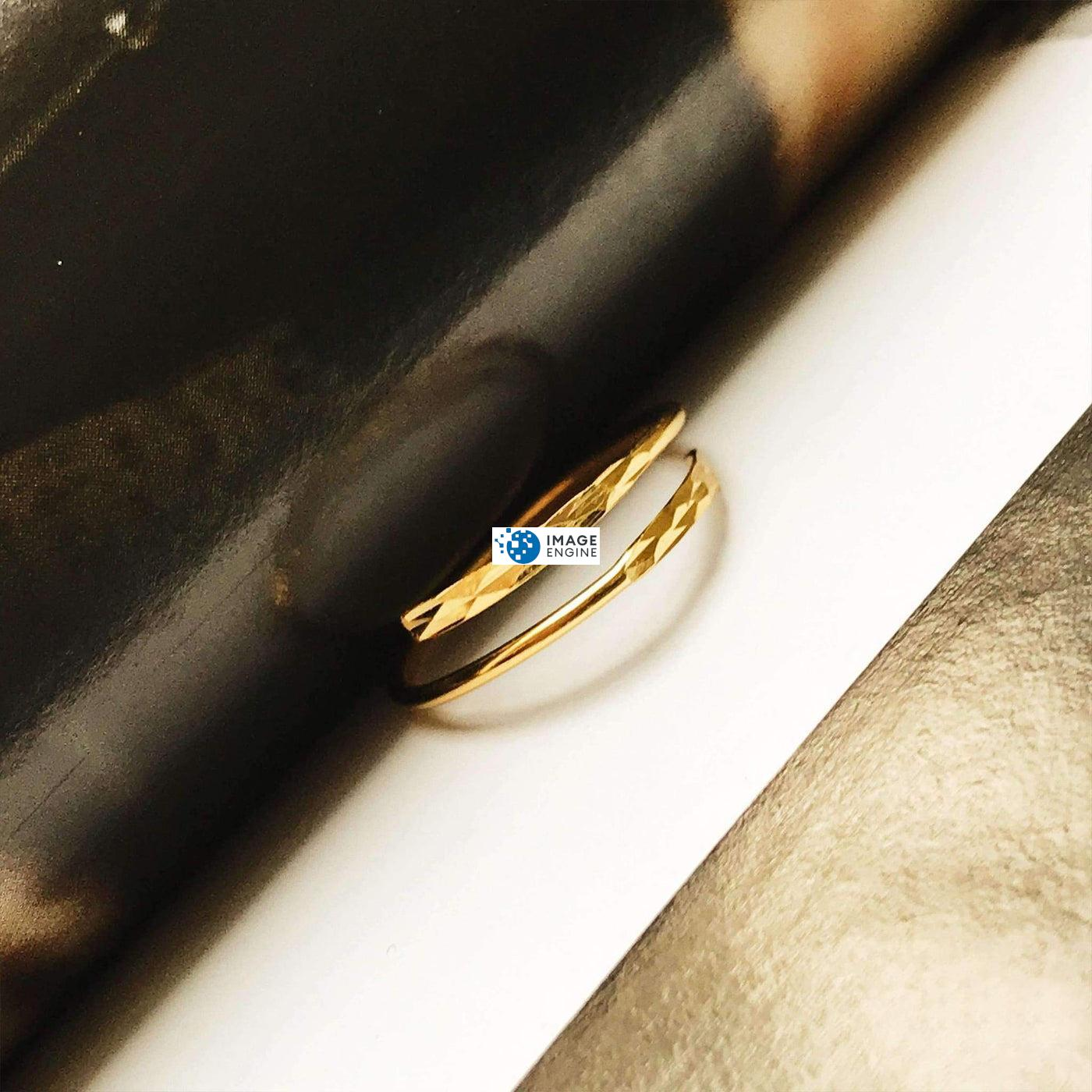 Minimalist Thumb Ring - In Between Pages Higher Angle - 18K Yellow Gold Vermeil