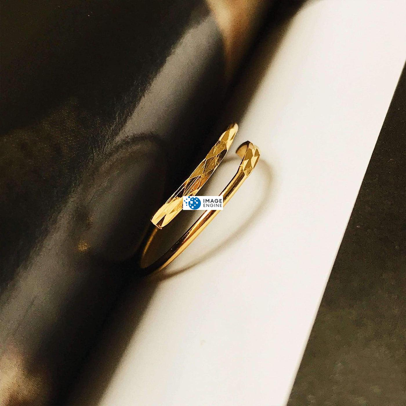 Minimalist Thumb Ring - In Between Pages Higher Side Angle - 18K Yellow Gold Vermeil