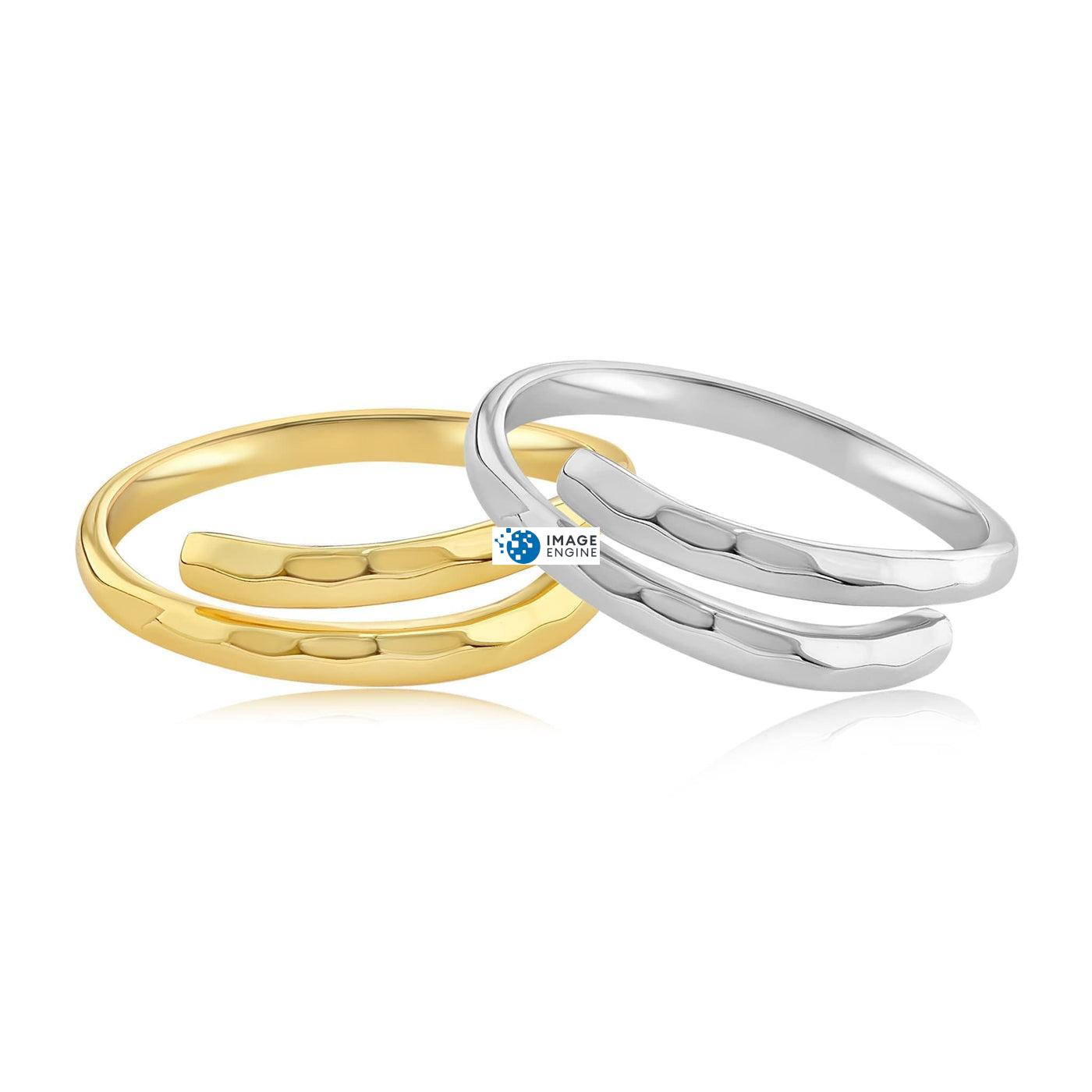 Minimalist Thumb Ring - Front View Side by Side - 18K Yellow Gold Vermeil and 925 Sterling Silver