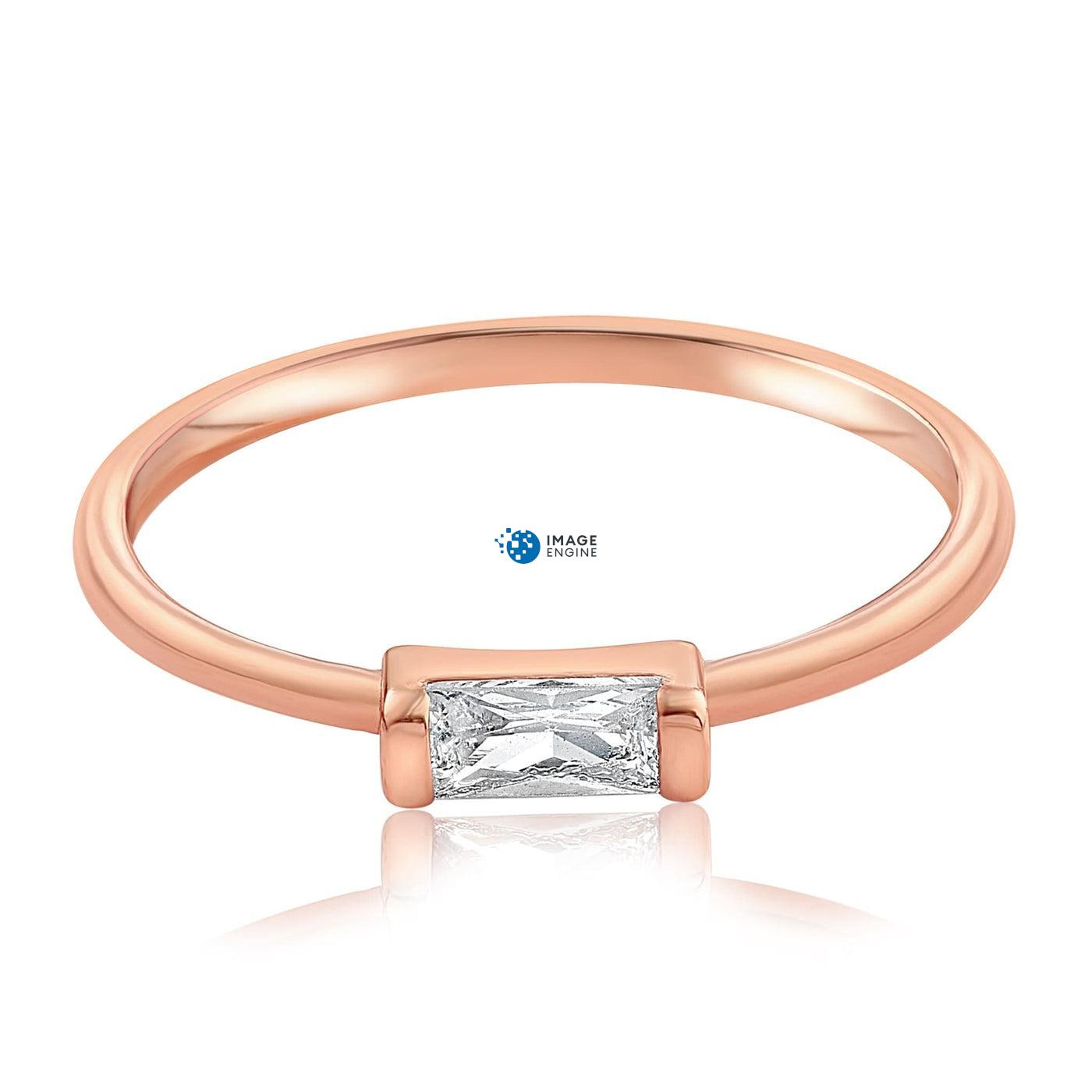 Moonie Glass Geometric Ring - Side View - 18K Rose Gold Vermeil