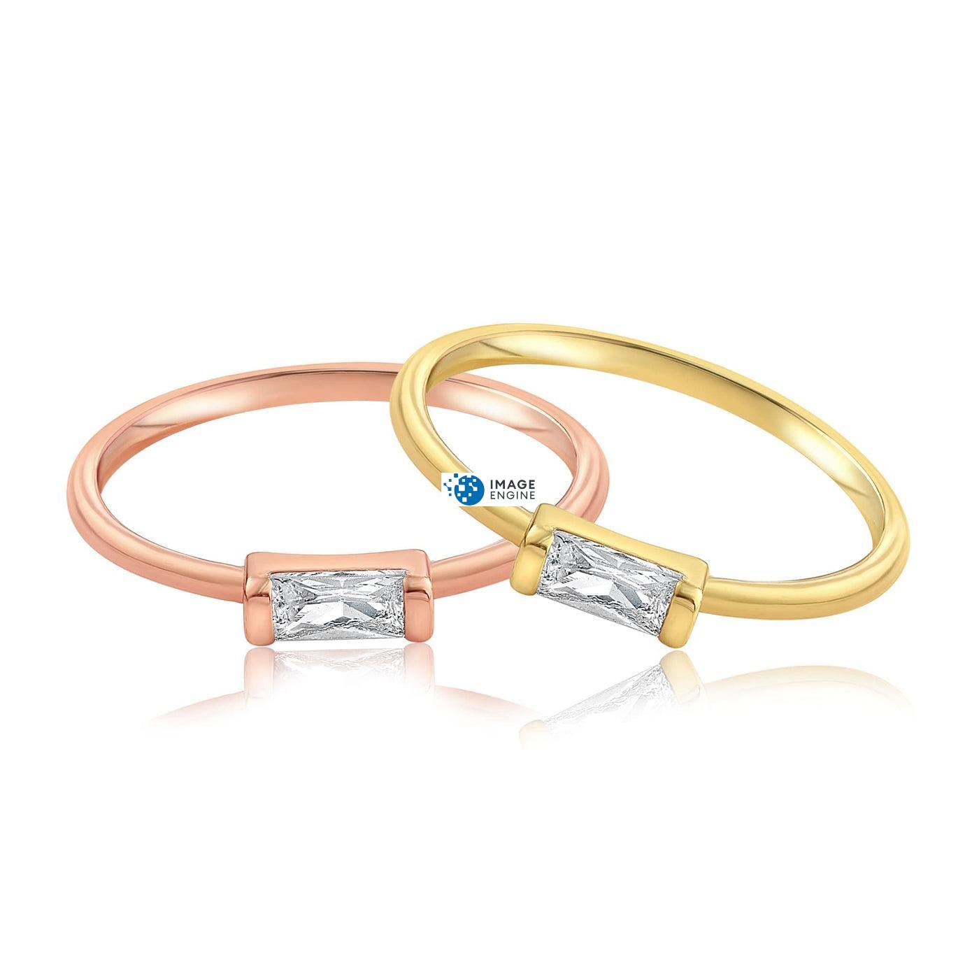 Moonie Glass Geometric Ring - Front View Side by Side - 18K Rose Gold Vermeil and 18K Yellow Gold Vermeil