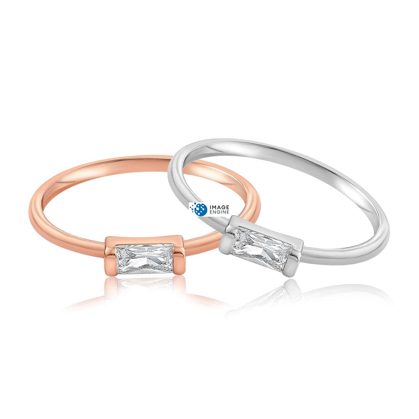 Moonie Glass Geometric Ring - Front View Side by Side - 18K Rose Gold Vermeil and 925 Sterling Silver