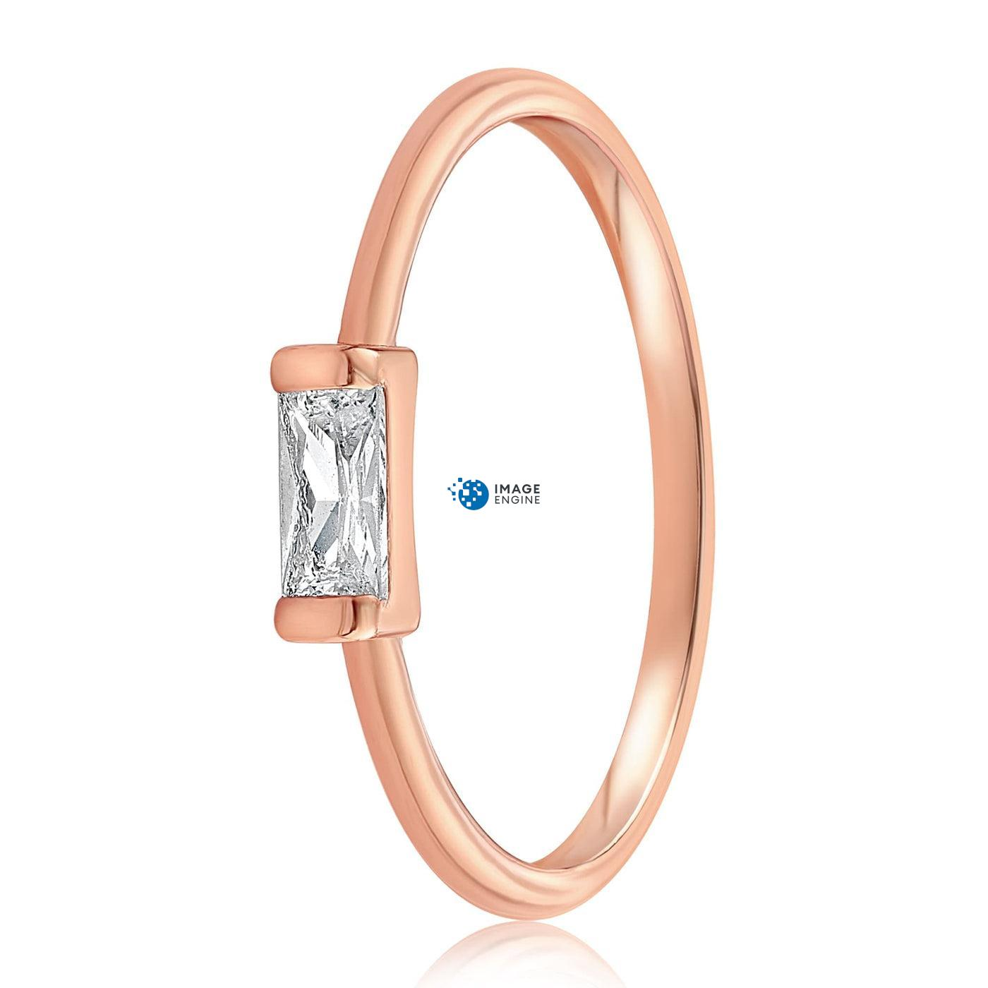 Moonie Glass Geometric Ring - Front View Facing Down - 18K Rose Gold Vermeil
