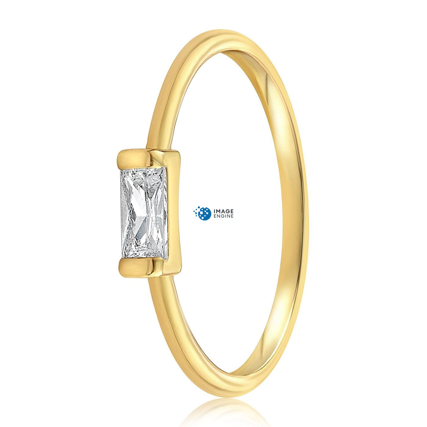 Moonie Glass Geometric Ring - Side View - 18K Yellow Gold Vermeil