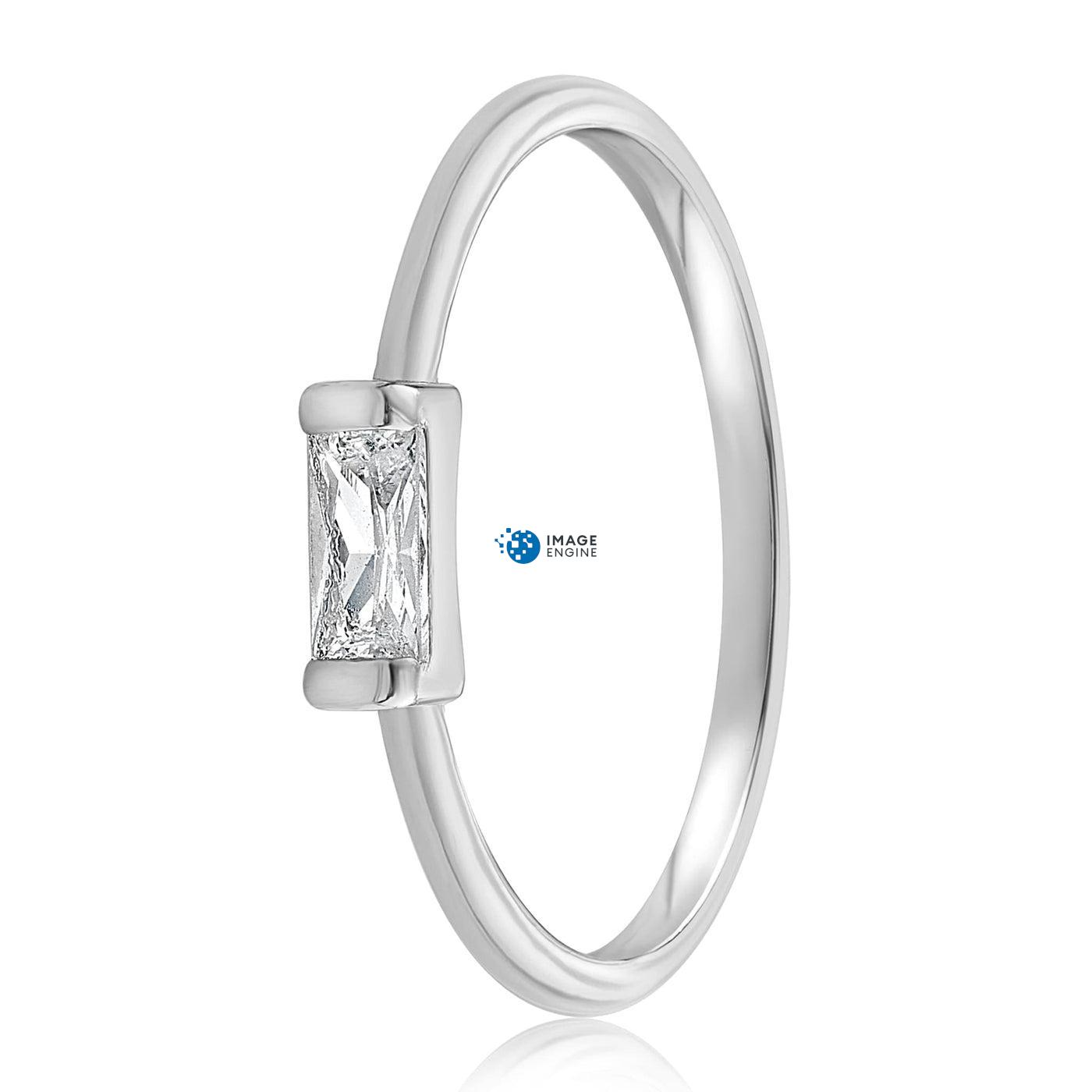 Moonie Glass Geometric Ring - Side View - 925 Sterling Silver