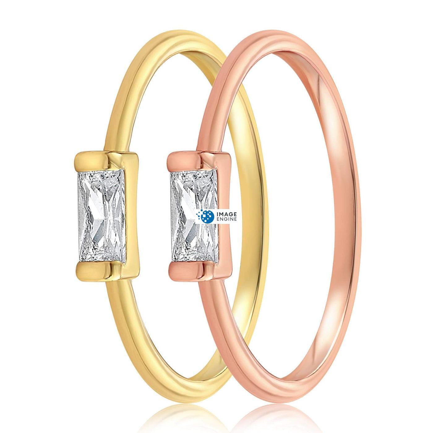 Moonie Glass Geometric Ring - Side by Side - 18K Yellow Gold Vermeil and 18K Rose Gold Vermeil