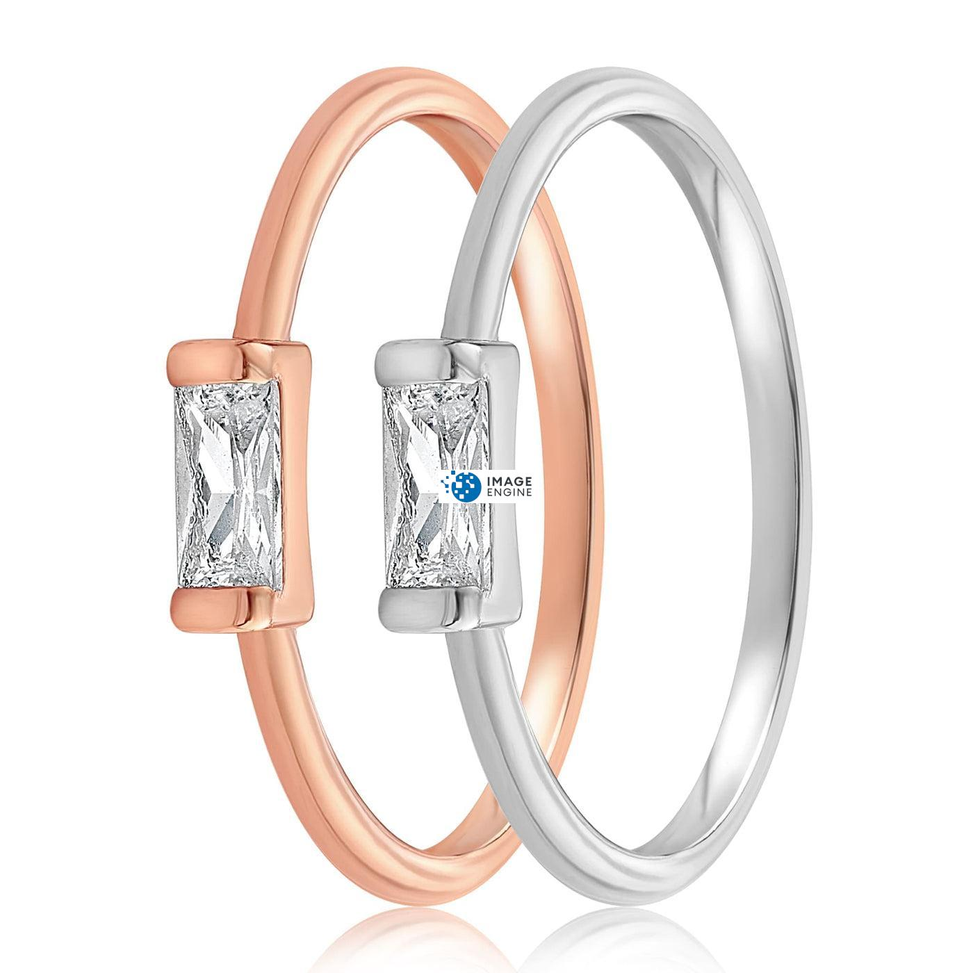 Moonie Glass Geometric Ring - Side by Side - 925 Sterling Silver and 18K Rose Gold Vermeil