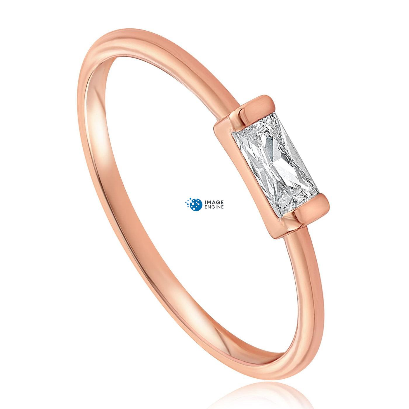 Moonie Glass Geometric Ring - Three Quarter View - 18K Rose Gold Vermeil