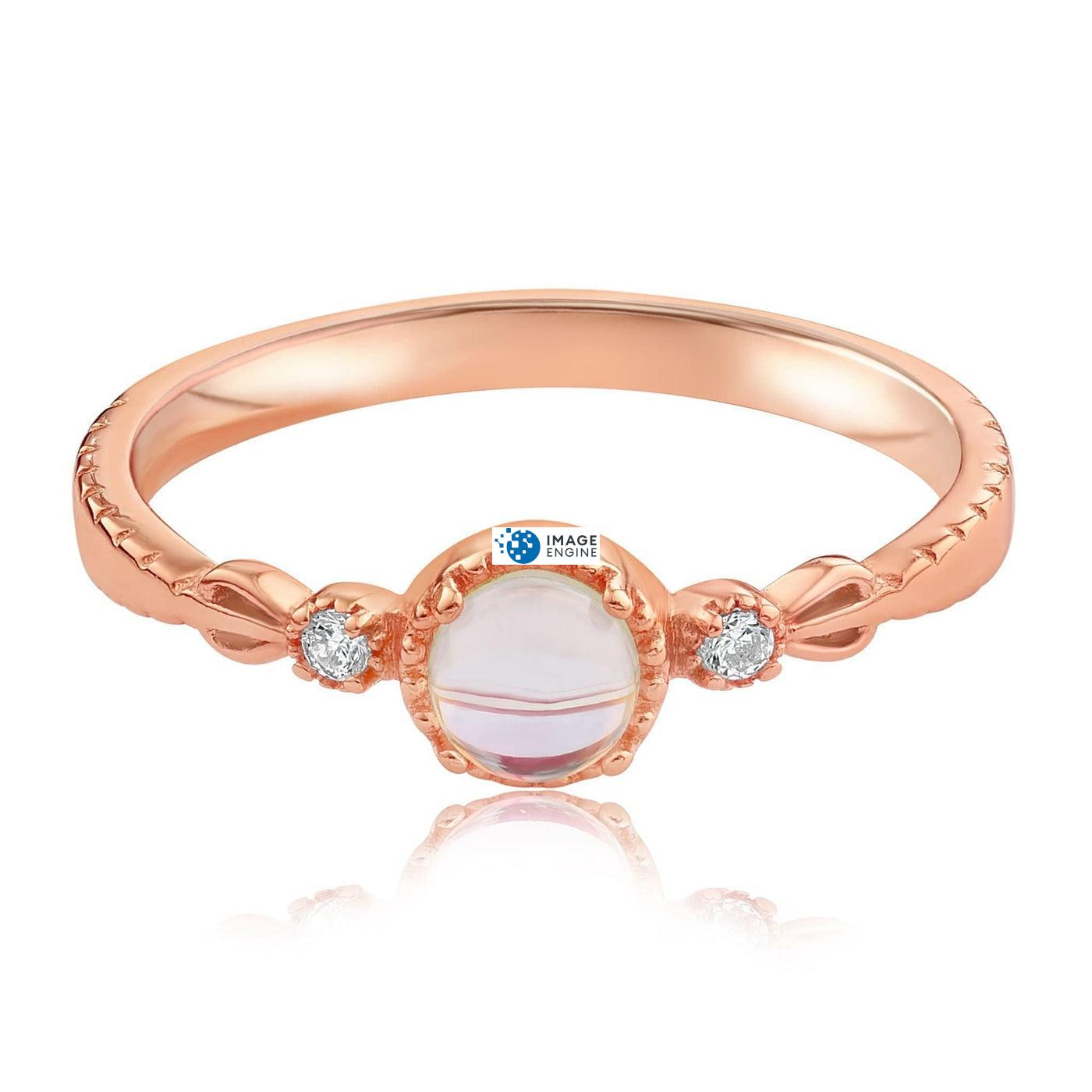 Mystic Moonstone Mood Ring - Front View Facing Down - 18K Rose Gold Vermeil
