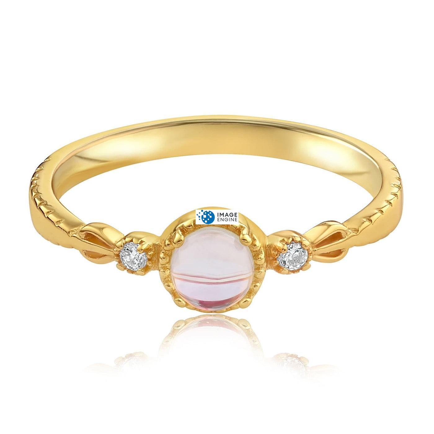 Mystic Moonstone Mood Ring - Front View Facing Down - 18K Yellow Gold Vermeil