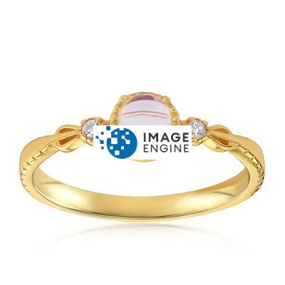 Mystic Moonstone Mood Ring - Front View Facing Up - 18K Yellow Gold Vermeil Featured