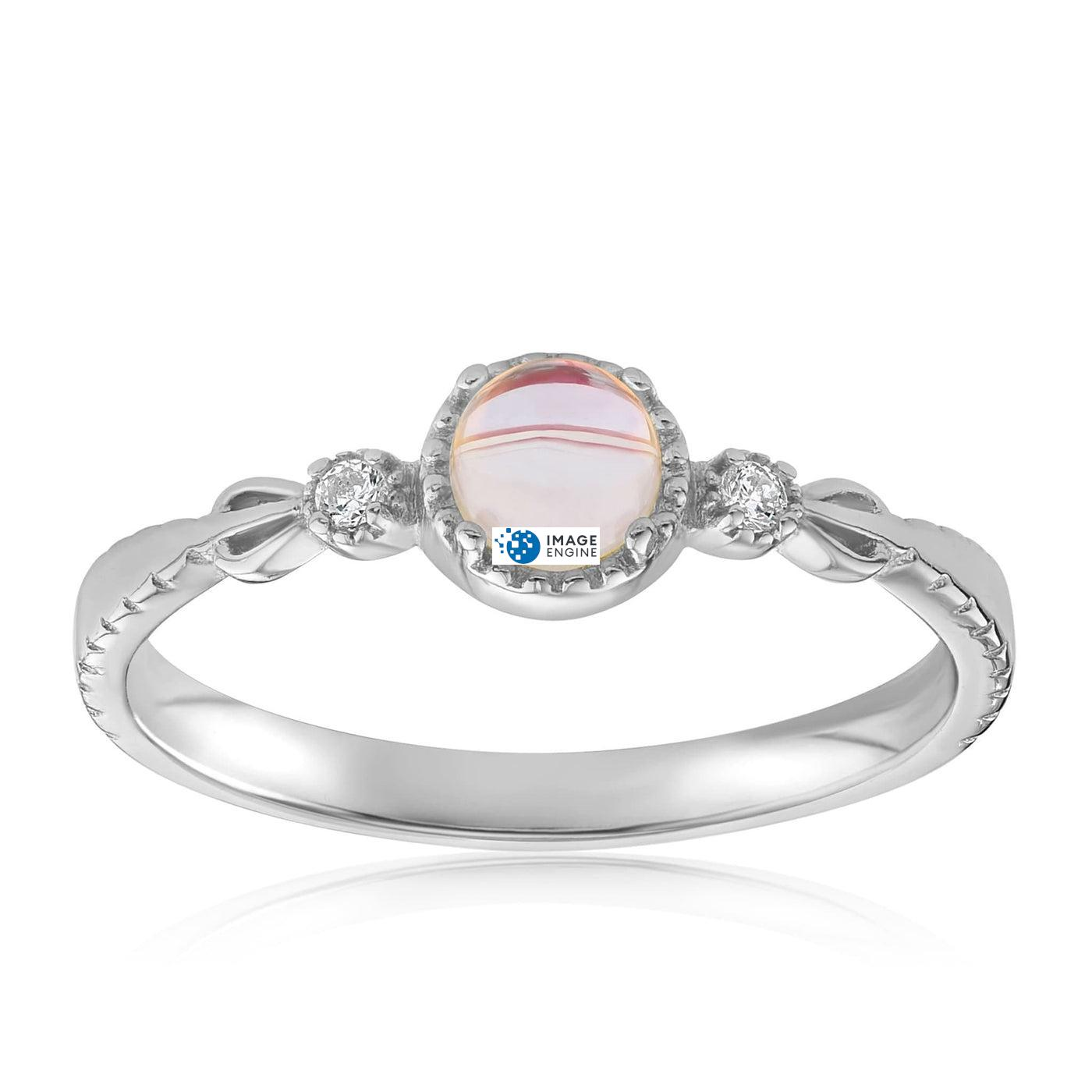 Mystic Moonstone Mood Ring - Front View Facing Up - 925 Sterling Silver