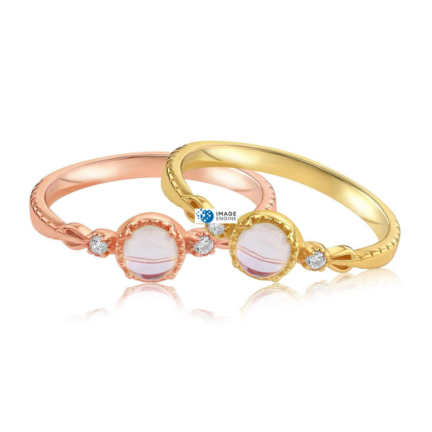 Mystic Moonstone Mood Ring - Front View Side by Side - 18K Rose Gold Vermeil and 18K Yellow Gold Vermeil