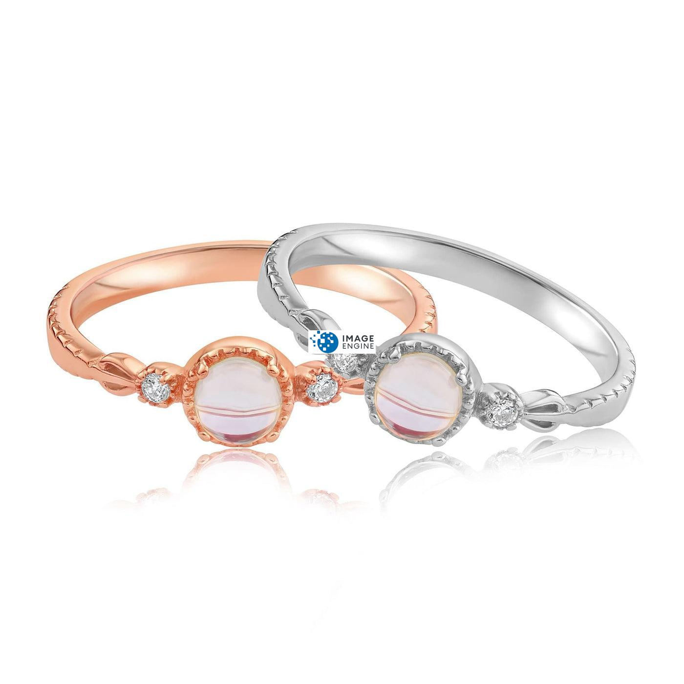 Mystic Moonstone Mood Ring - Front View Side by Side - 18K Rose Gold Vermeil and 925 Sterling Silver