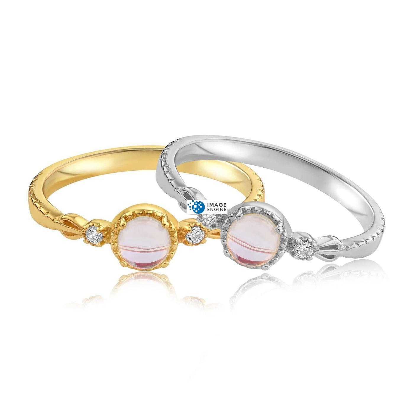 Mystic Moonstone Mood Ring - Front View Side by Side - 18K Yellow Gold Vermeil and 925 Sterling Silver