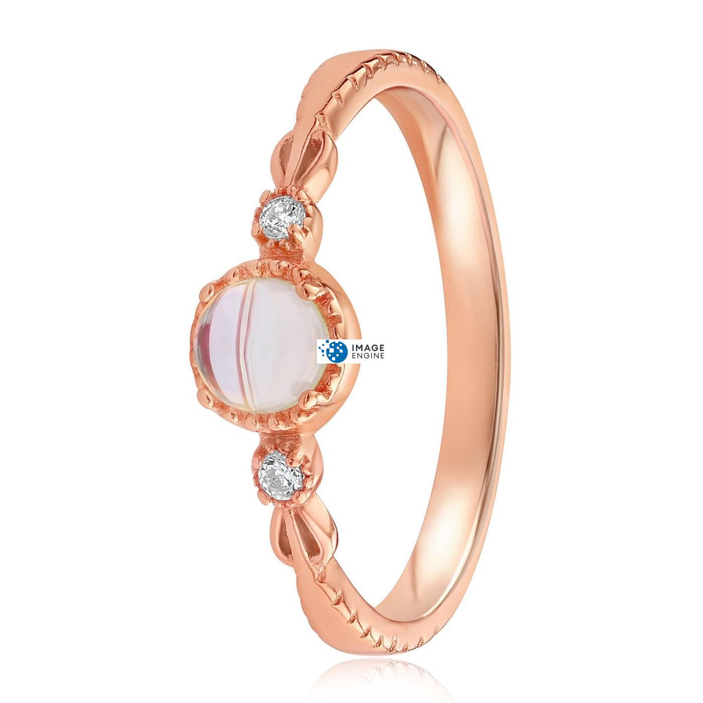Mystic Moonstone Mood Ring - Side View - 18K Rose Gold Vermeil
