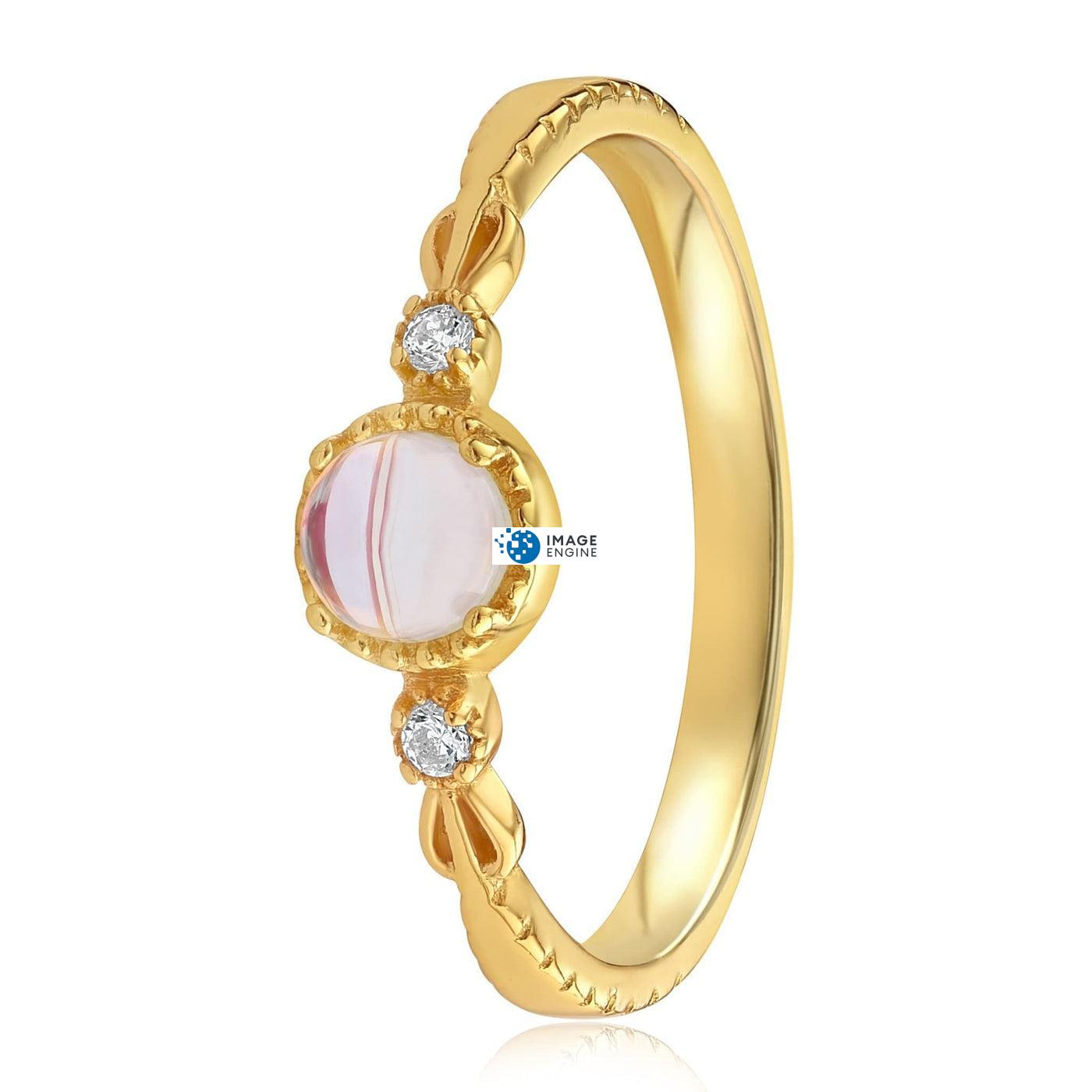 Mystic Moonstone Mood Ring - Side View - 18K Yellow Gold Vermeil