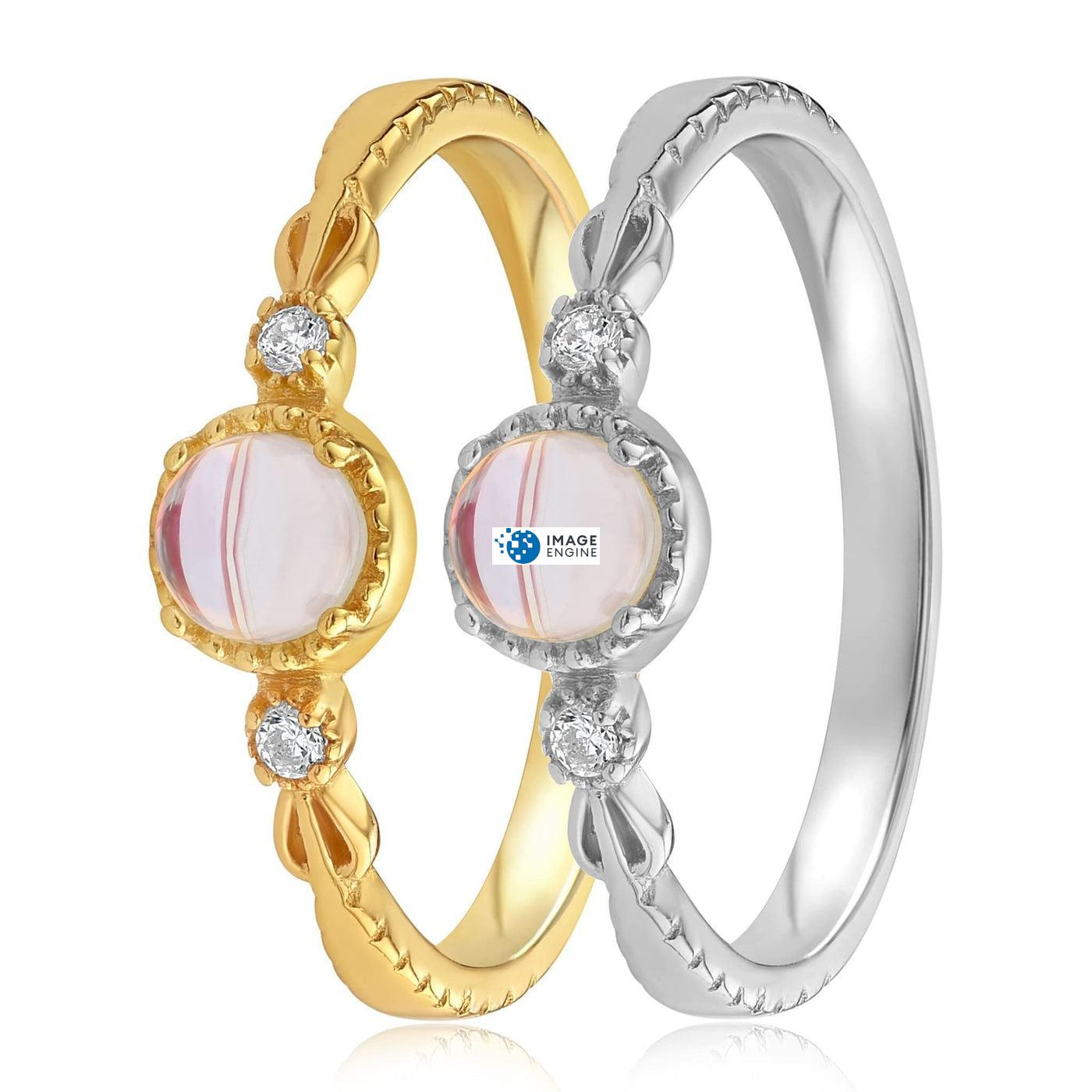 Mystic Moonstone Mood Ring - Side by Side - 18K Yellow Gold and 925 Sterling Silver