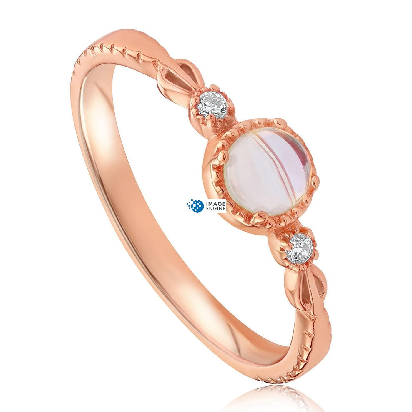 Mystic Moonstone Mood Ring - Three Quarter View - 18K Rose Gold Vermeil