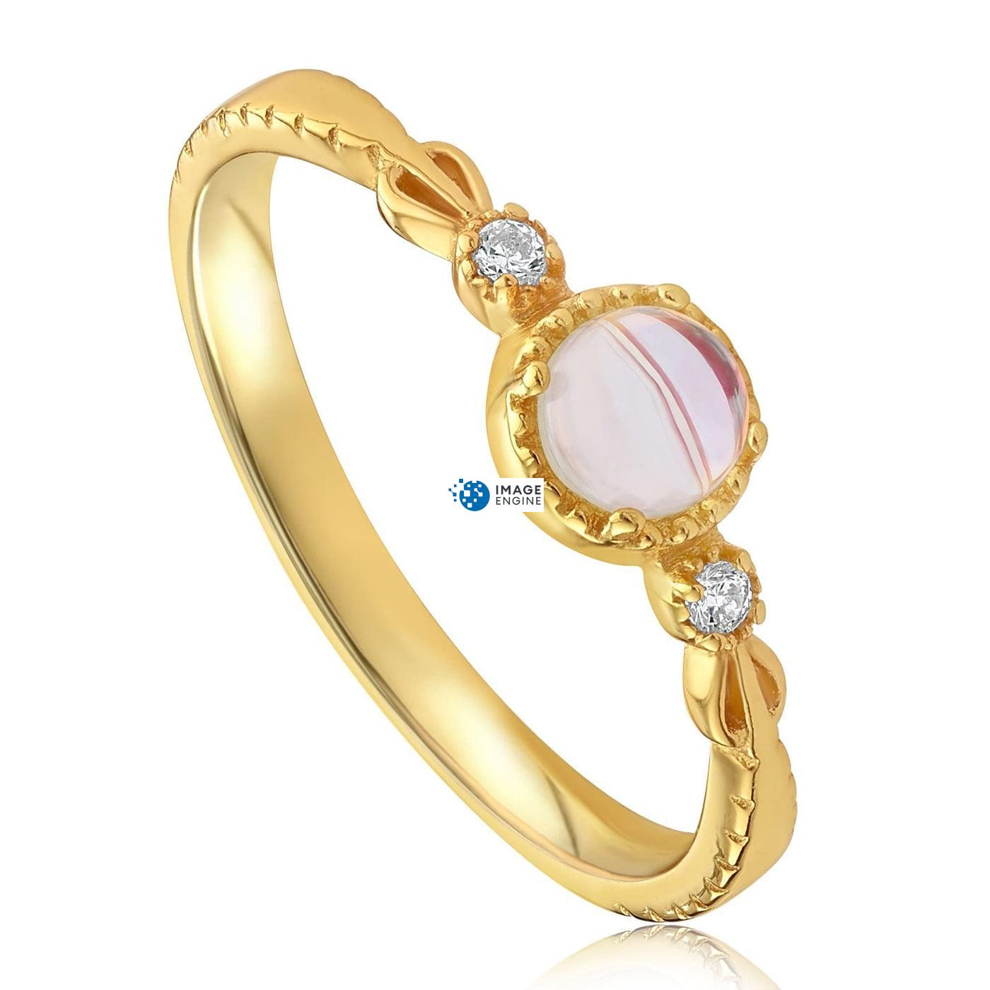 Mystic Moonstone Mood Ring - Three Quarter View - 18K Yellow Gold Vermeil