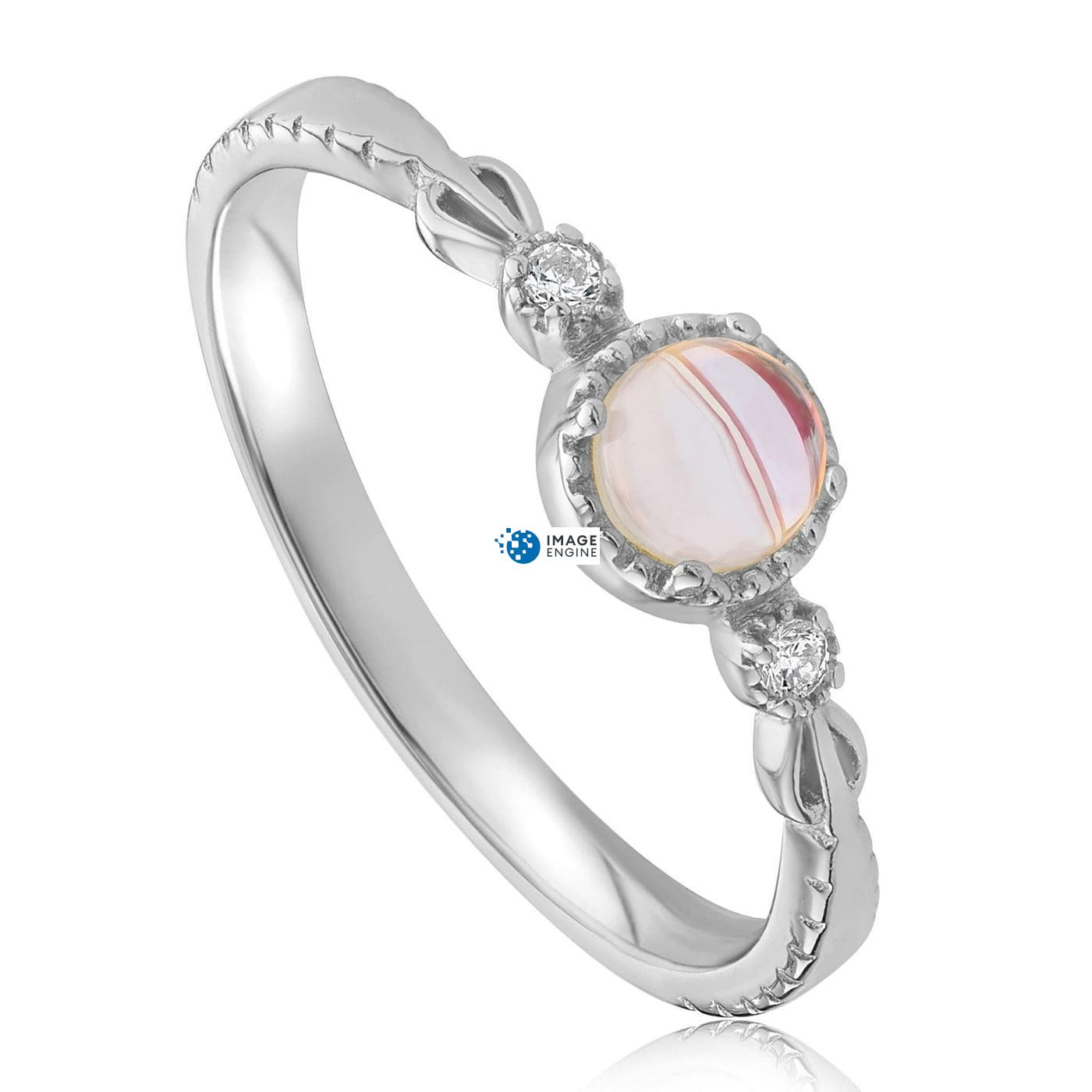 Mystic Moonstone Mood Ring - Three Quarter View - 925 Sterling Silver