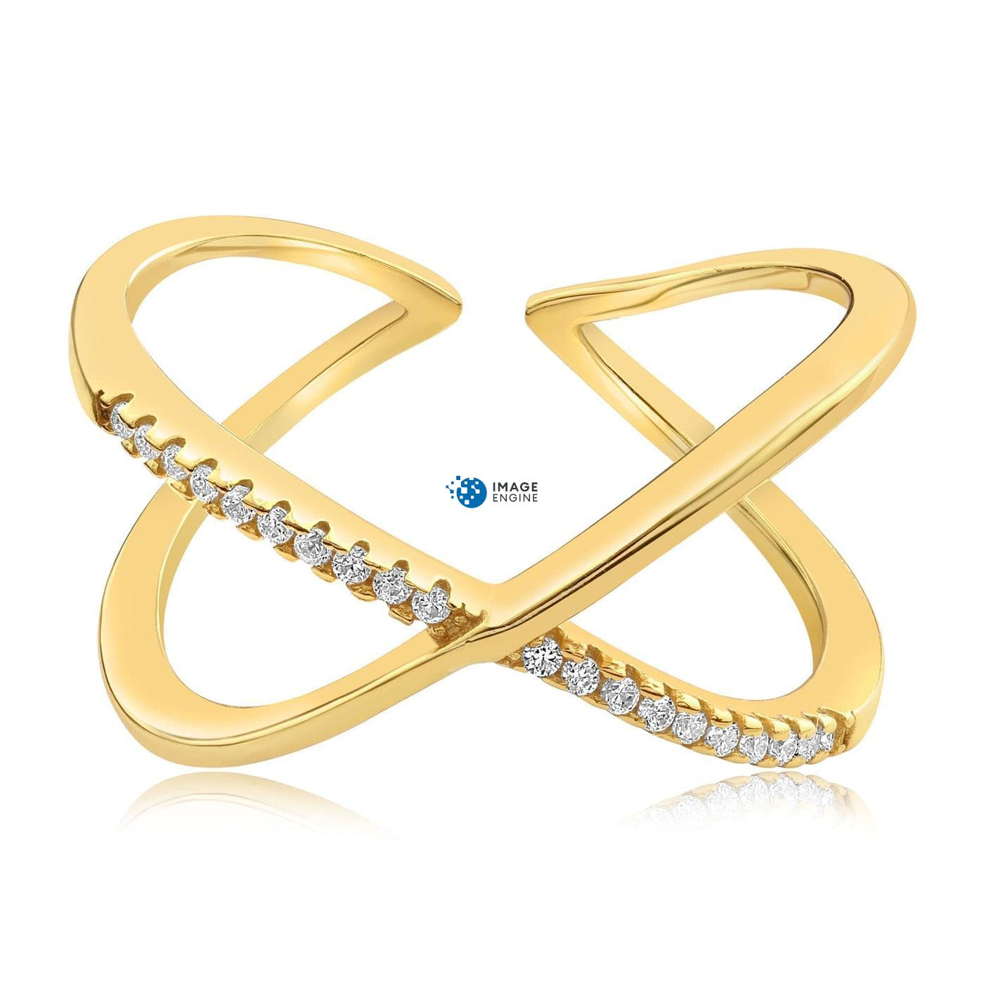 Nadia X Infinity Ring - Front View Facing Down - 18K Yellow Gold Vermeil