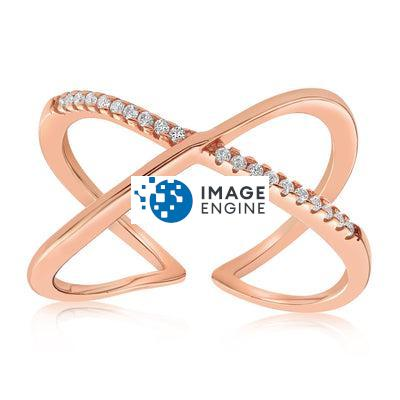 Nadia X Infinity Ring - Front View Facing Up - 18K Rose Gold Vermeil