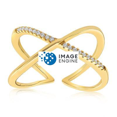 Nadia X Infinity Ring - Front View Facing Up - 18K Yellow Gold Vermeil Featured