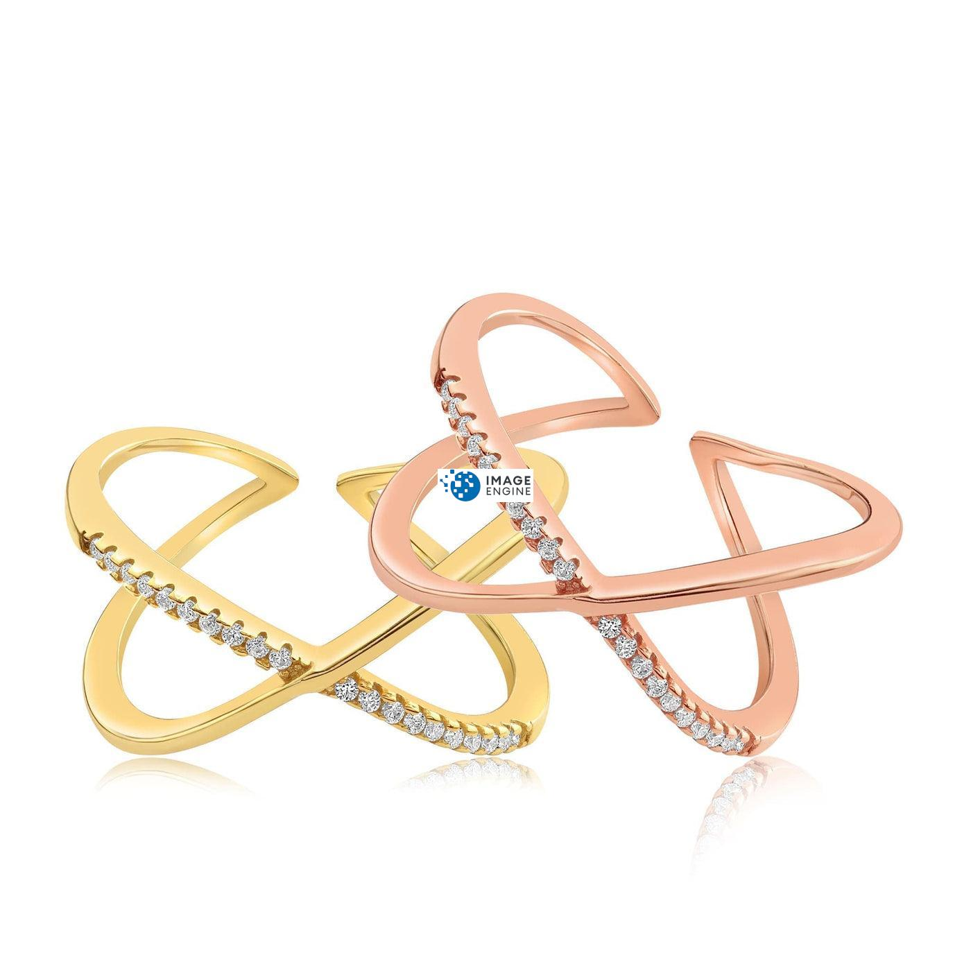 Nadia X Infinity Ring - Front View Side by Side - 18K Rose Gold Vermeil and 18K Yellow Gold Vermeil