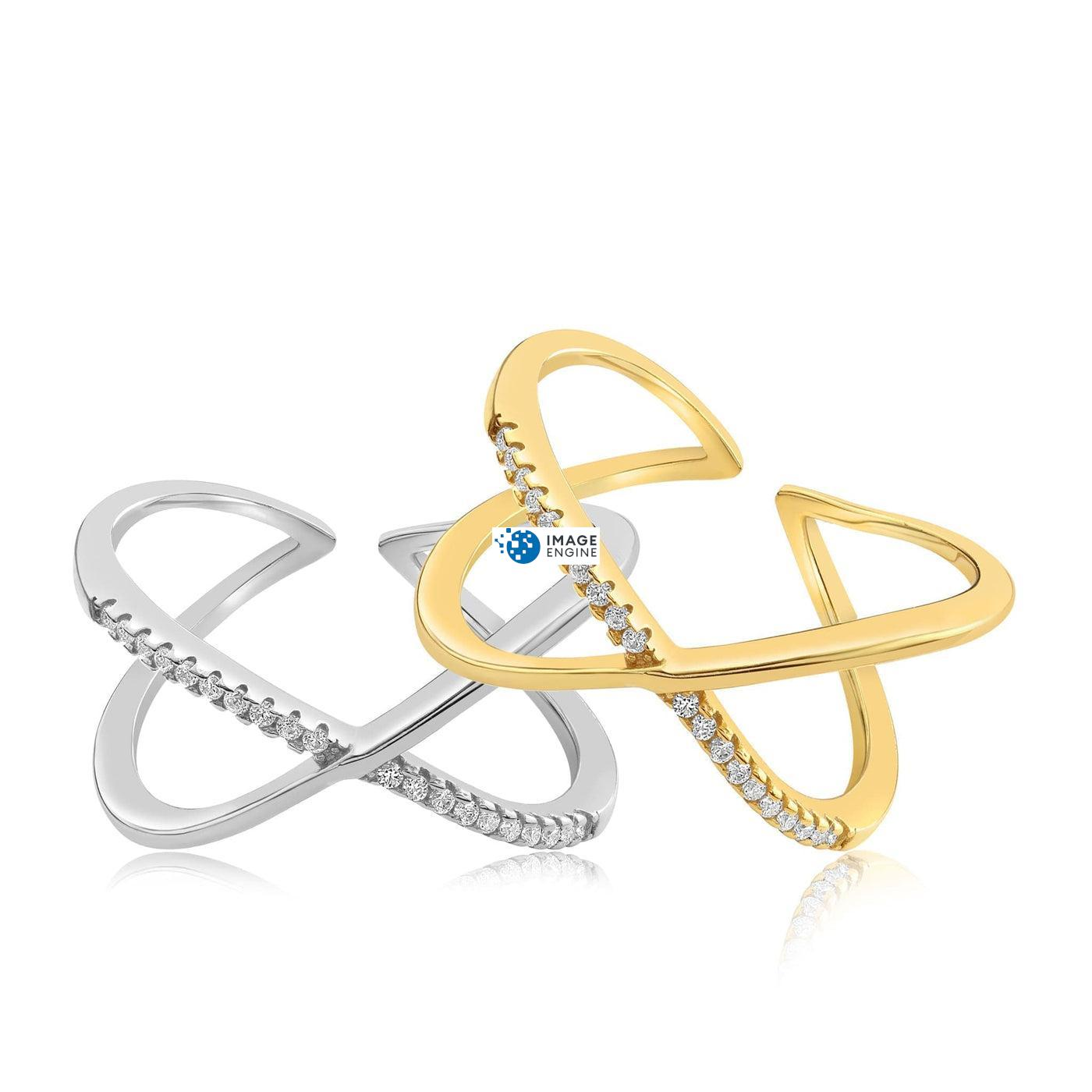Nadia X Infinity Ring - Front View Side by Side - 18K Yellow Gold Vermeil and 925 Sterling Silver