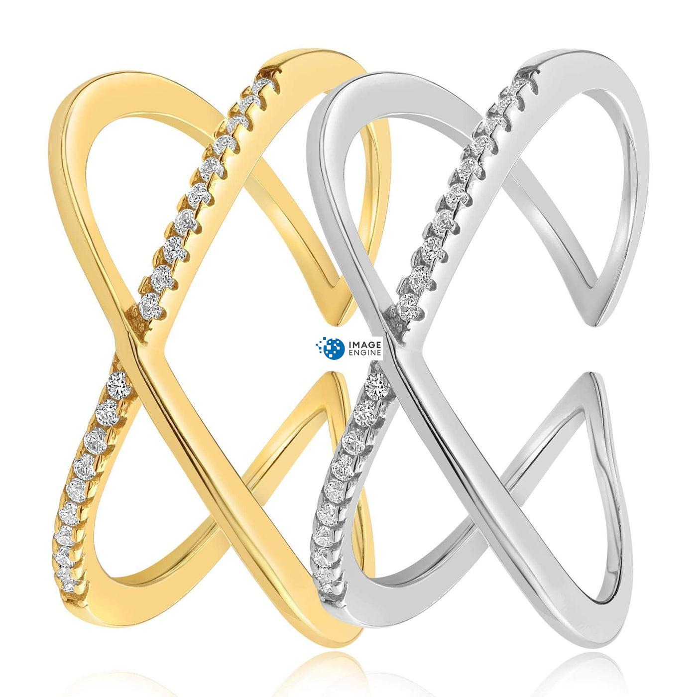Nadia X Infinity Ring - Side by Side - 18K Yellow Gold and 925 Sterling Silver