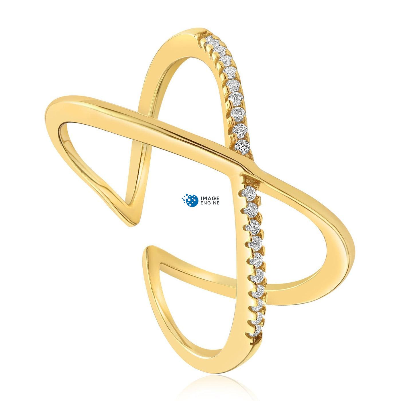 Nadia X Infinity Ring - Three Quarter View - 18K Yellow Gold Vermeil