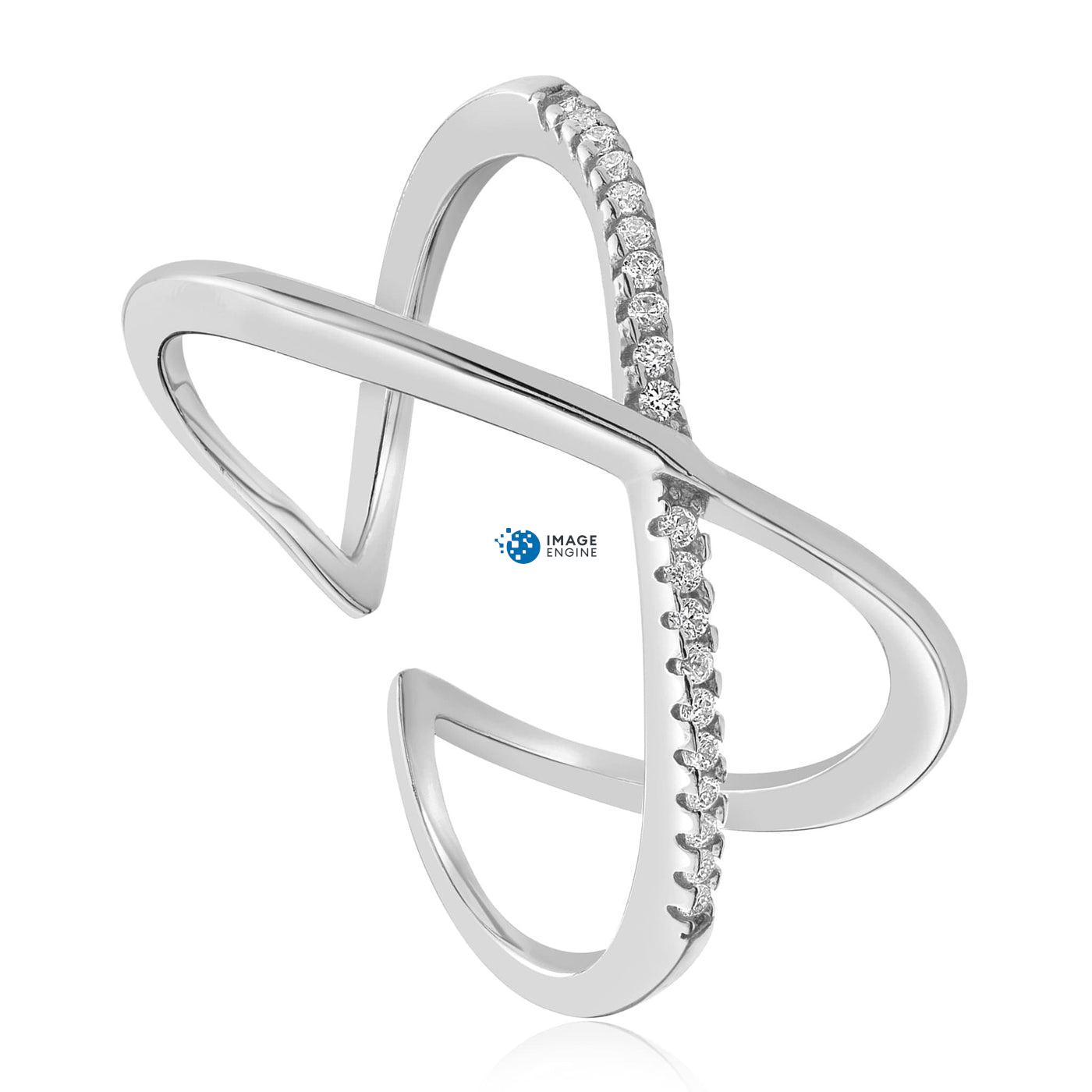 Nadia X Infinity Ring - Three Quarter View - 925 Sterling Silver