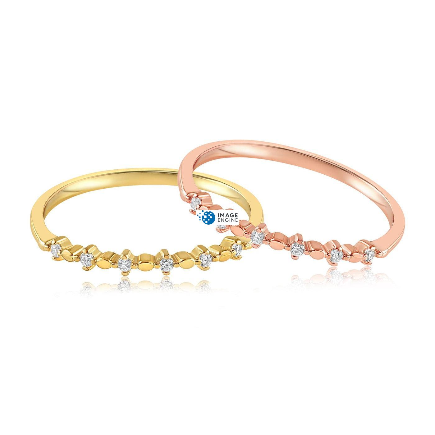 Nicolette Stackable Ring - Front View Side by Side - 18K Rose Gold Vermeil and 18K Yellow Gold Vermeil