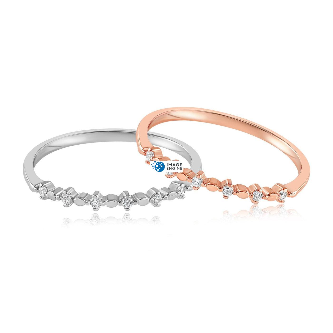 Nicolette Stackable Ring - Front View Side by Side - 18K Rose Gold Vermeil and 925 Sterling Silver