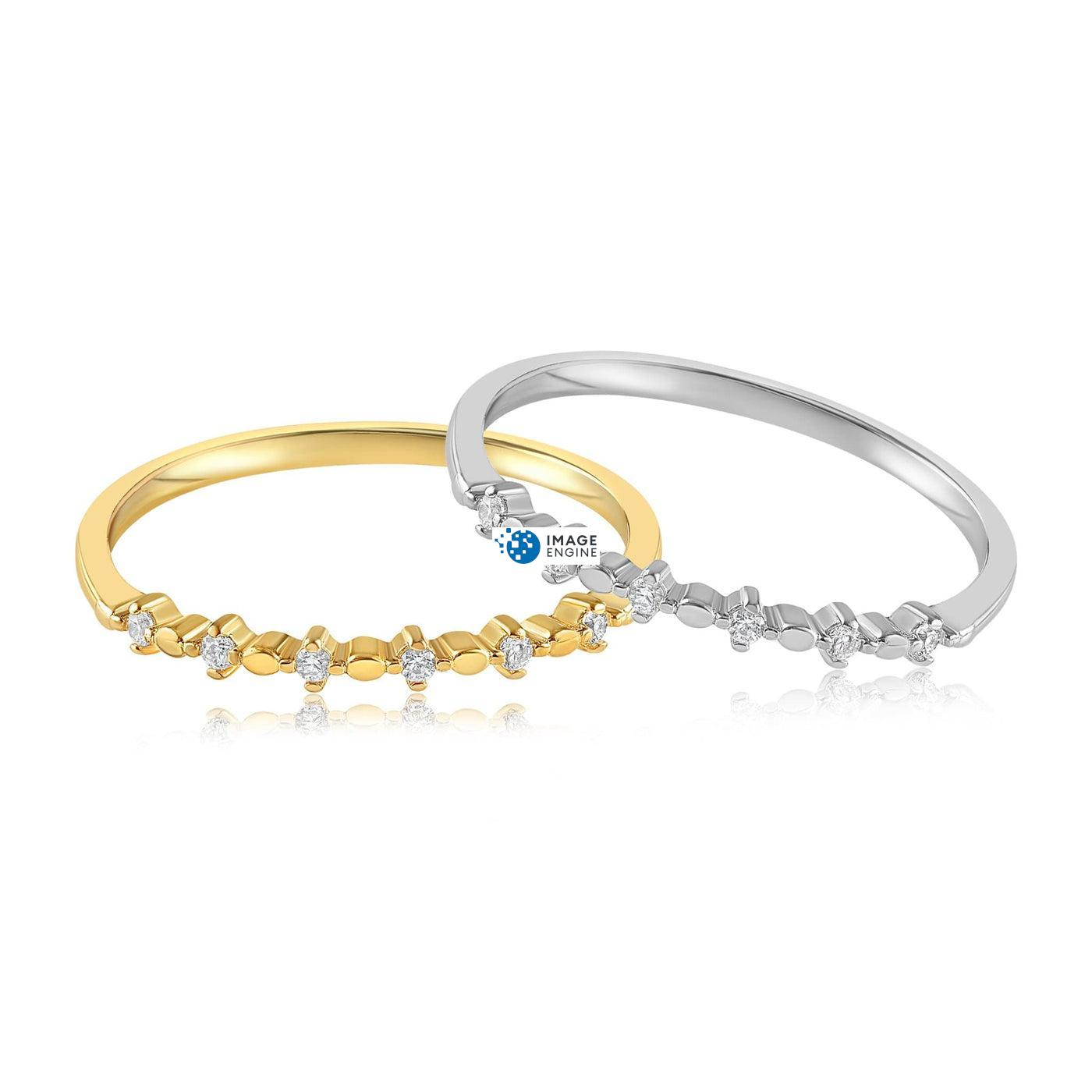 Nicolette Stackable Ring - Front View Side by Side - 18K Yellow Gold Vermeil and 925 Sterling Silver