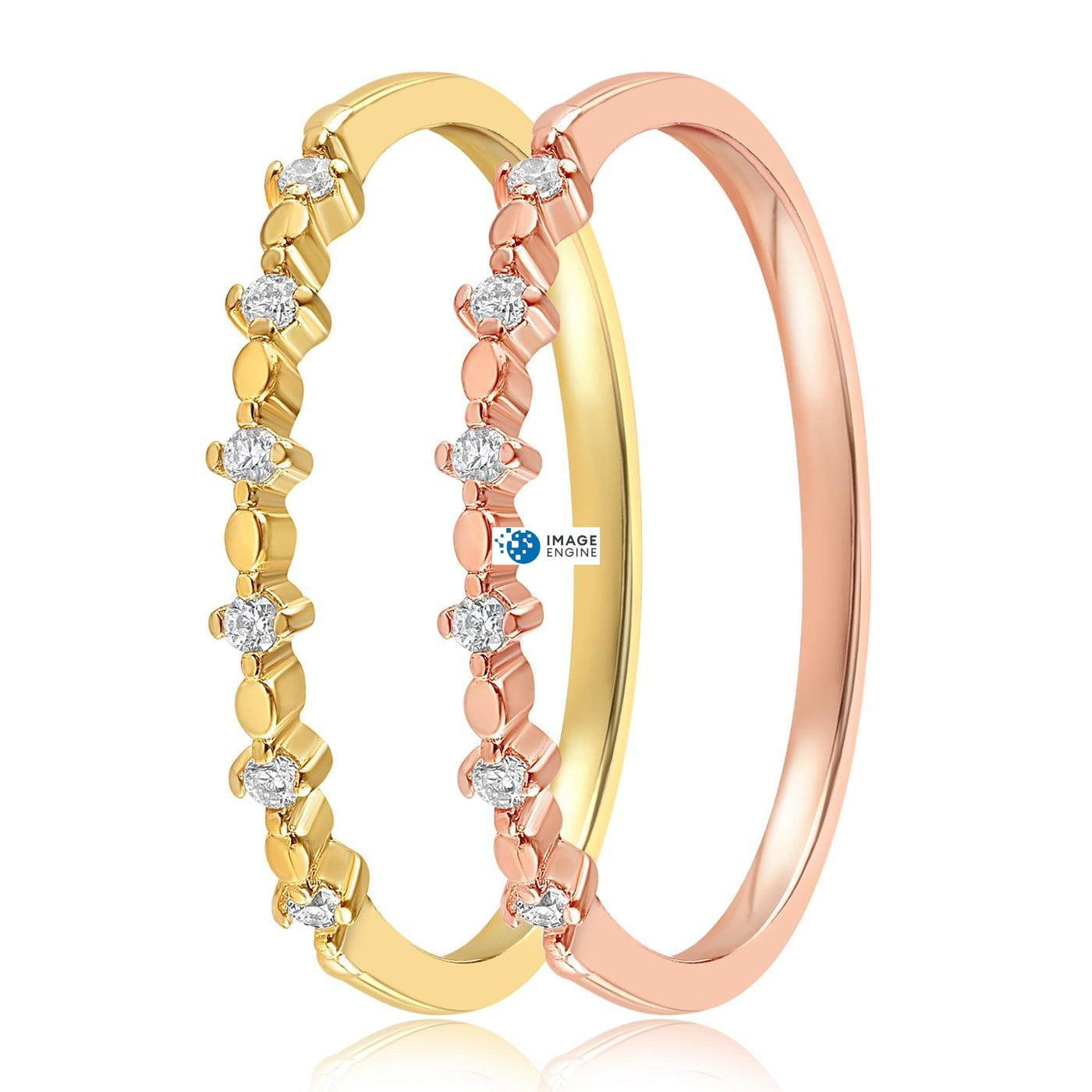 Nicolette Stackable Ring - Side by Side - 18K Yellow Gold Vermeil and 18K Rose Gold Vermeil