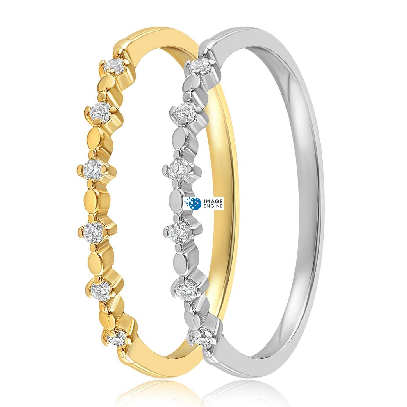 Nicolette Stackable Ring - Side by Side - 18K Yellow Gold and 925 Sterling Silver