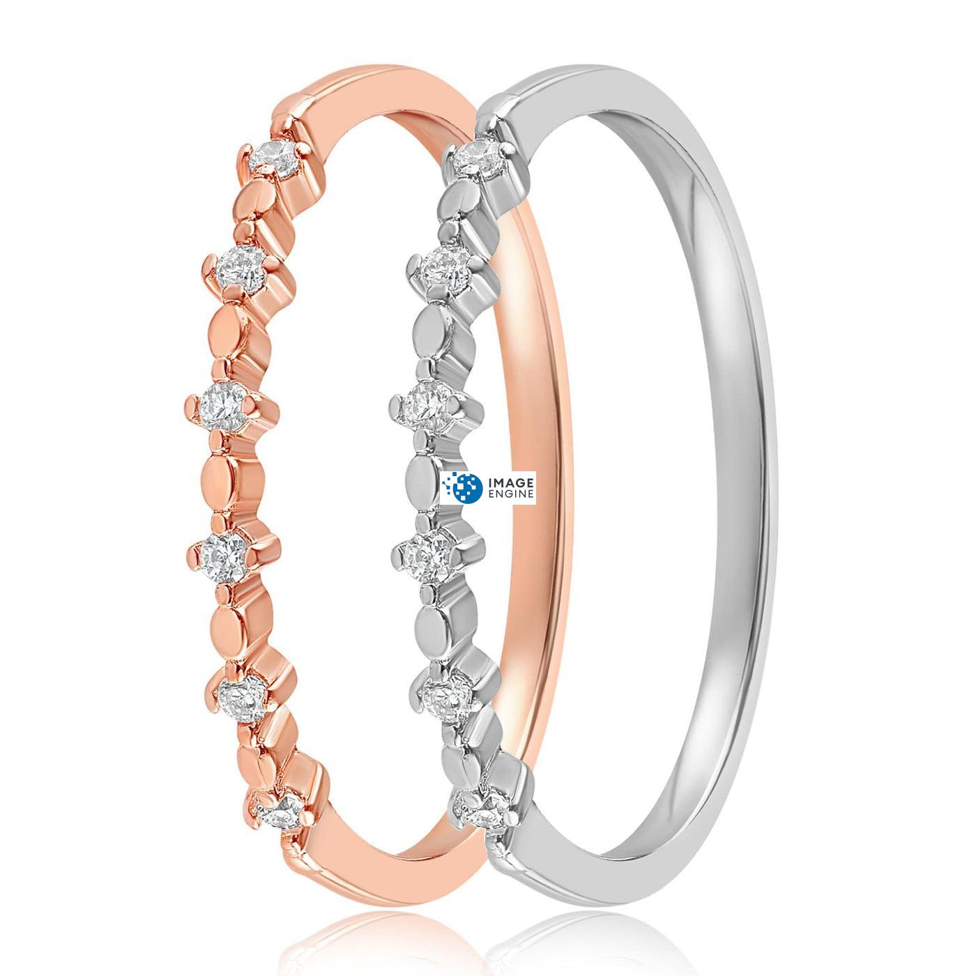 Nicolette Stackable Ring - Side by Side - 925 Sterling Silver and 18K Rose Gold Vermeil