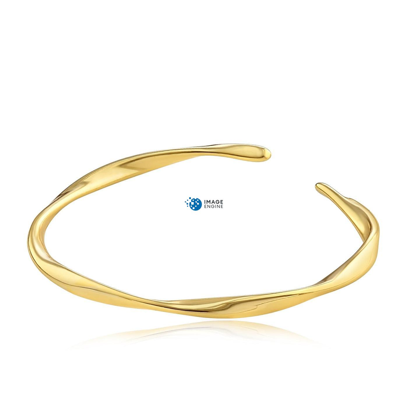 Olivia Twist Ring - Front View Facing Down - 18K Yellow Gold Vermeil