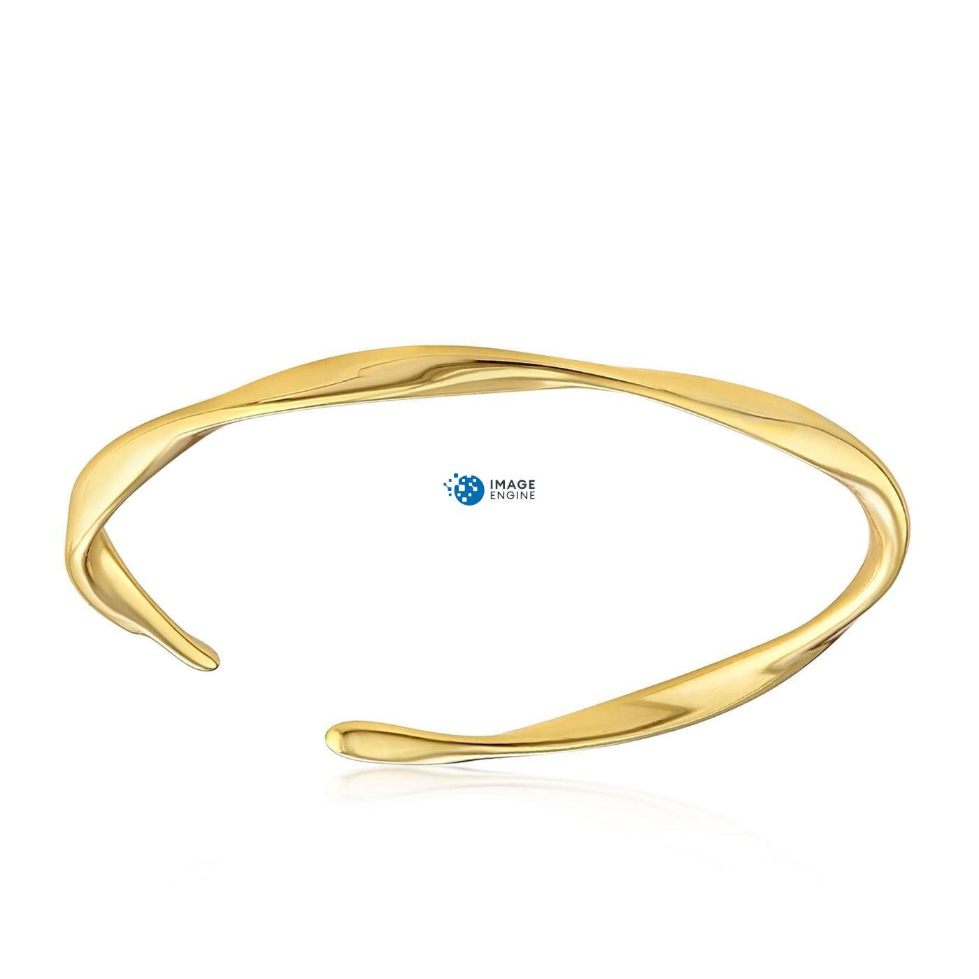 Olivia Twist Ring - Front View Facing Up - 18K Yellow Gold Vermeil